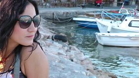 Girl With Glasses near the sea stock footage