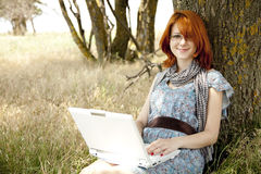 Girl in glasses and notebook Stock Photos