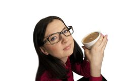 Girl with glasses posing with coffee Stock Photography