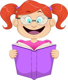 Girl With Glasses Reading From Book Stock Images