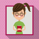 Girl glasses smile book student frame dot shadow background Stock Images