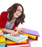 Girl in glasses with stack book . Royalty Free Stock Photos