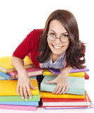 Girl in glasses with stack book . Royalty Free Stock Images