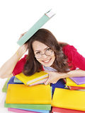 Girl in glasses with stack book . Stock Photo