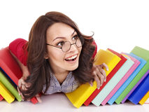 Girl in glasses with stack book . Royalty Free Stock Photo