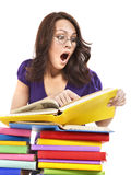 Girl in glasses with stack book . Royalty Free Stock Photography