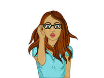 Girl with glasses surprised. Pop art style. Wow. Beautiful Stock Images