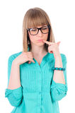 Girl with glasses thinking Royalty Free Stock Image