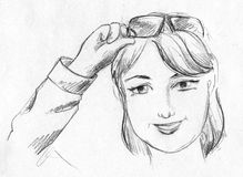 Girl with glasses up, pencil sketch Royalty Free Stock Images