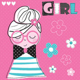 Girl with glasses vector illustration. Cute girl with glasses vector illustration Royalty Free Stock Images