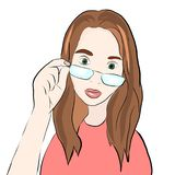 Girl in glasses. Vector illustration royalty free illustration