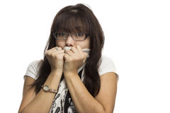 Girl in glasses. The girl in the glasses is very cold Royalty Free Stock Image
