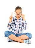 Girl with glasses. On white Stock Photography