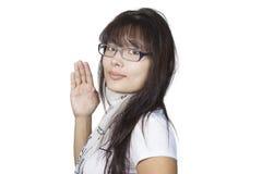 Girl in glasses. On white background Stock Image