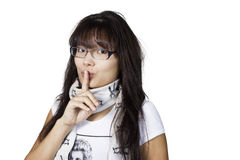 Girl in glasses. On white background Royalty Free Stock Image