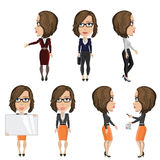 Girl with glasses at work. Vector illustration of a girl with glasses perform different functions at work Stock Image