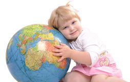 Girl with a globe royalty free stock image