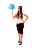 girl with globe Royalty Free Stock Images