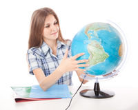 Girl with the globe Stock Photos