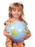 Girl with globe Stock Photos