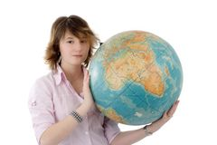 Girl with the globe. Girl holds the globe in hands Stock Photo