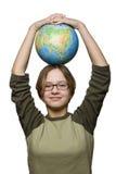 Girl and globe Royalty Free Stock Photos