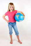 Girl with Globe Stock Photo