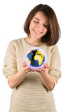 Girl with the globe Royalty Free Stock Photography
