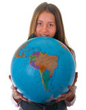 Girl with globe. Isolated on white background Royalty Free Stock Photo