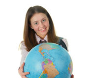 Girl with globe. Isolated on white background Stock Photo
