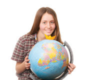 Girl with globe. Isolated on white background royalty free stock photos