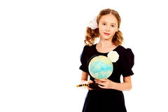 Girl with globe Royalty Free Stock Photo