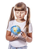 Girl with globe Stock Photography