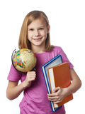 Girl with globe and textbooks Stock Photo