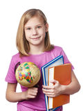 Girl with globe and textbooks Royalty Free Stock Photos