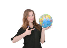 Girl and globe, trips Royalty Free Stock Photos