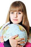 Girl and globe of the world. Teen sweet girl hugging globe of the world stock photo