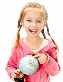 Girl with a globe of the world Stock Photography