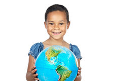 Girl with a globe of the world. Over white background royalty free stock photos