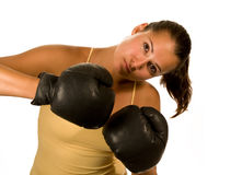 Girl in gloves. Girl in black boxing gloves Stock Image