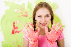Girl in gloves Royalty Free Stock Image