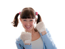 Girl in gloves Stock Photo