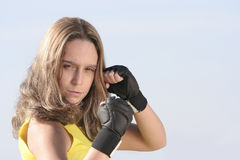Girl with gloves Royalty Free Stock Images