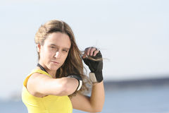 Girl with gloves Stock Images