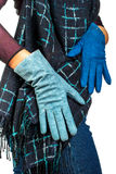 Girl in gloves Royalty Free Stock Photography