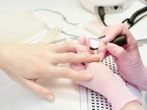 Girl in gloves paint nails in the salon of manicure, close-up.  stock photos