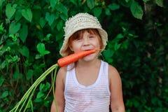 Girl gnaws carrot Stock Photos