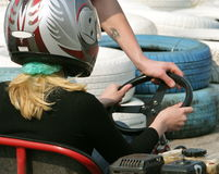 Girl on go-carting Stock Photos