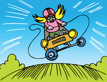Girl Go Kart Race. Girl is riding fast and furious on the racetrack with her go kart Stock Image