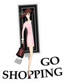Girl go shopping Royalty Free Stock Image
